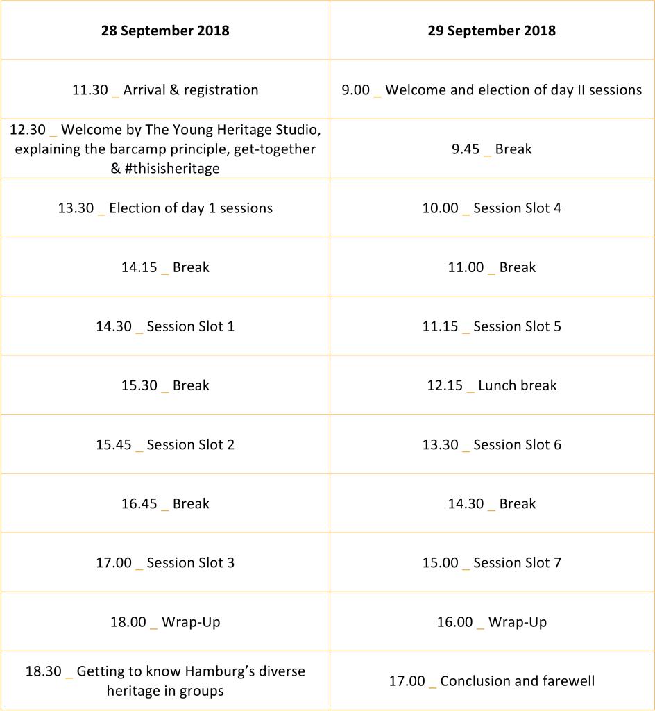 Zeitplan #culturecamp